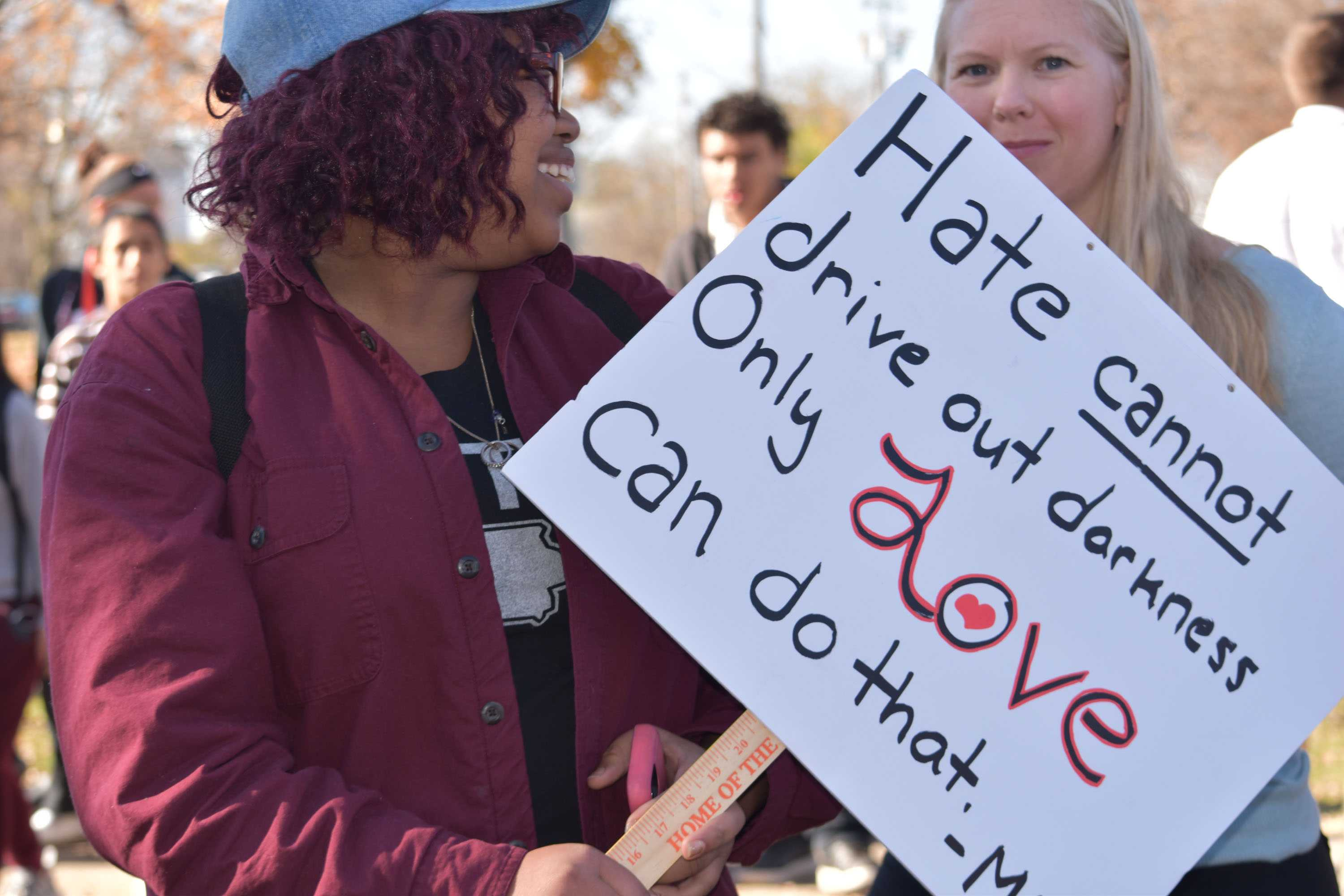 Senior Jalesha Johnson organized the walk out and led students in chants outside the school on Wednesday at 10:30 a.m.